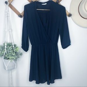 Lush Navy Cross Sheer 3/4 Sleeve Dress